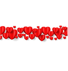 hearts border isolated white background vector image