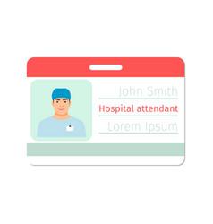 hospital attendant medical specialist badge vector image