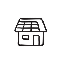 House with solar panel sketch icon vector