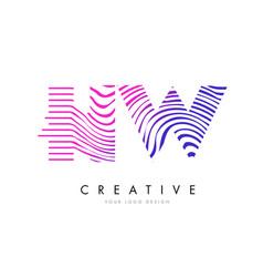 hw h w zebra lines letter logo design with vector image