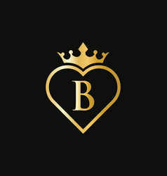 Initial b logo with crown and love shape heart vector