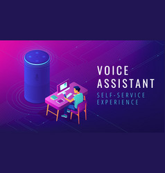 Isometric voice assistant automated self service vector