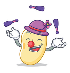 Juggling soy bean mascot cartoon vector