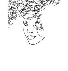 Line art abstract beautiful female face 17 vector