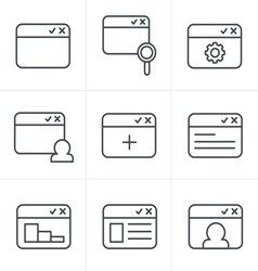 Line Icons Style browser icon set vector