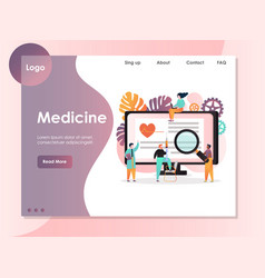 Medicine website landing page design vector
