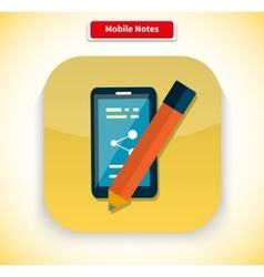 Mobile Notes App Icon Flat Style Design vector