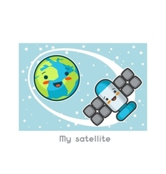 My satellite Kawaii space funny card Doodles vector