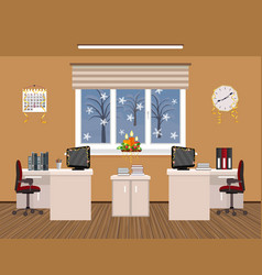 office room interior christmas design with vector image