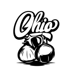 ohio calligraphic inscription with chestnut black vector image