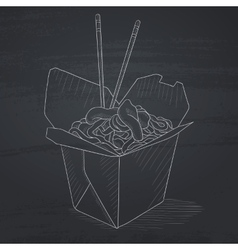 Opened take out box with chinese food vector