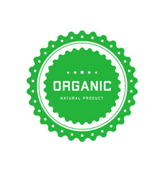 Organic natural product green circle emblem with vector