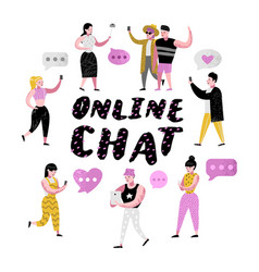 people using mobile applications online chatting vector image