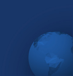 polygonal globe template on dark blue background vector image