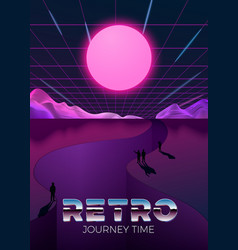 poster template in 80s retro futurism style vector image