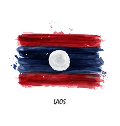 realistic watercolor painting flag of laos vector image