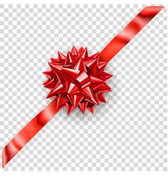 red shiny bow with diagonally ribbon vector image