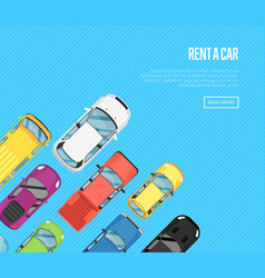 Rent a car poster with top view city cars vector