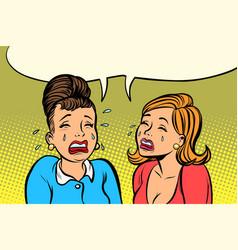 sad girlfriends women cry vector image