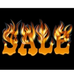 Sale design with fire and melting vector
