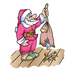 Santa Claus with a bag from which falling gifts vector