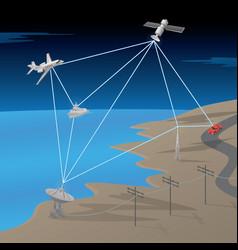 satellite gps network communication scene vector image