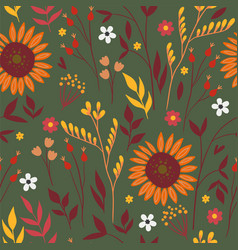 seamless pattern with autumn flowers and leaves vector image