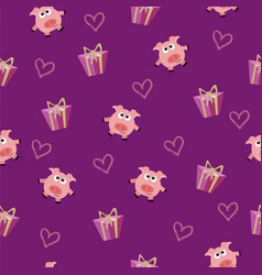seamless romantic pattern with pig and gift box vector image