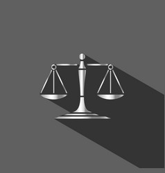 silver scales of justice icon with shadow on dark vector image
