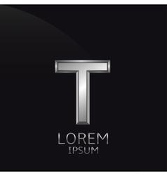 Silver T Letter emblem vector