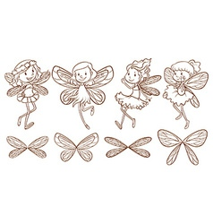 Simple sketches of a fairy vector image