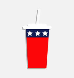 soda drink glass with straw icon cinema icon in vector image