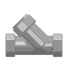 Tee plumbing fitting icon in monochrome style vector