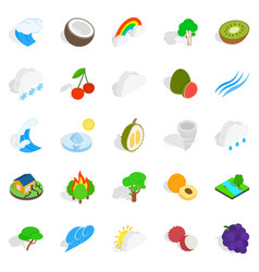 Territory icons set isometric style vector