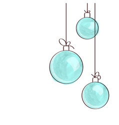 Three blue watercolor Christmas tree balls vector image