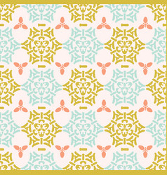trendy yellow and blue pastel ornamental damask vector image
