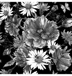 Vintage monochrome watercolor bouquet of vector