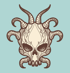 Vintage monsters skull with horns vector