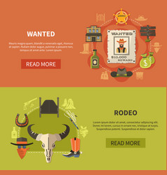 wanted bandit and rodeo banners vector image