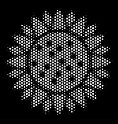 white pixelated sunflower icon vector image