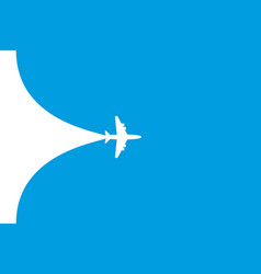 white plane symbol on a blue background airplane vector image
