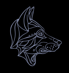 wolf head side view wildlife tattoo art fantasy vector image