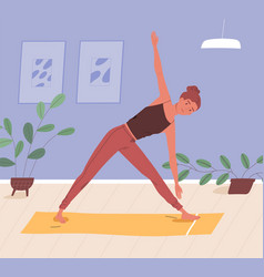 woman doing yoga on mat at home flat vector image