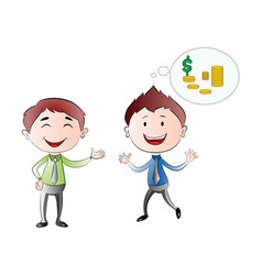 Young businessmen thinking of financial success vector