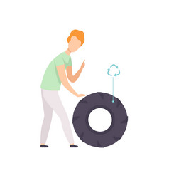 Young man with used rubber tire people gathering vector