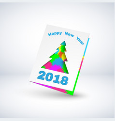 2018 greeting card with christmas tree vector image