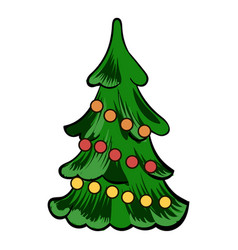 christmas tree icon cartoon vector image