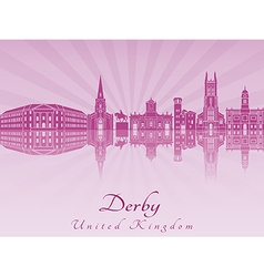 Derby skyline in purple radiant orchid vector image vector image