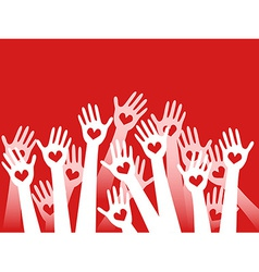 hands raised with hearts vector image vector image
