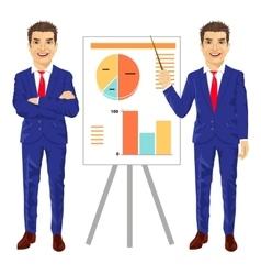 mature businessman standing near flip board vector image vector image